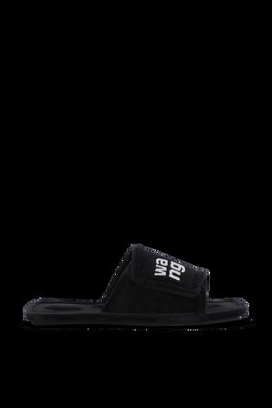 Lana Padded Logo Slipers in Black ALEXANDER WANG