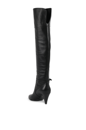 Black Leather Boots With Crossover Logo DOLCE & GABBANA