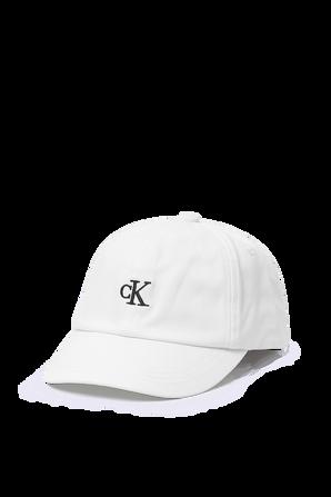 כובע בייסבול לבן עם רקמת לוגו CALVIN KLEIN