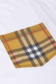 גילאי 3-14 חולצת טי לבנה עם כיס משובץ image number null BURBERRY