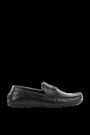 Black Loafers in Soft Leather EMPORIO ARMANI