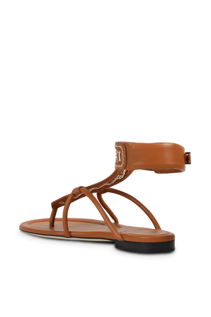 FF Woven Strap Sandals in Brown FENDI