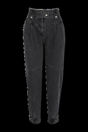 מכנסי ג'ינס בגזרה גבוהה בשטיפה כהה IRO