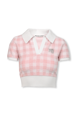 Towel Gingham Polo Pullover in Pink ALEXANDER WANG