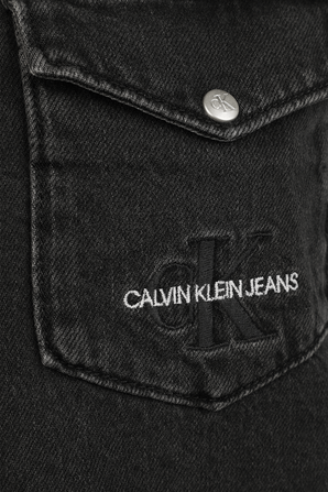 חולצת דנים קרופ בשטיפה כהה CALVIN KLEIN