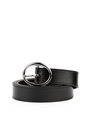 Rounded Belt In Black Leather CALVIN KLEIN