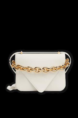 Medium Mount Leather Bag in White BOTTEGA VENETA