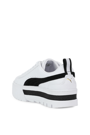 Mayze Leather Sneakers in white and Black PUMA