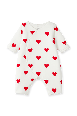גילאי NB-12 חודשים בגד גוף קצר בפרינט לבבות PETIT BATEAU