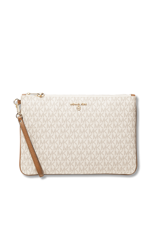 Slater Large Logo White and Leather 2-in-1 Wristlet MICHAEL KORS