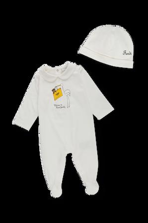 גילאי 1-6 חודשים מארז אוברול וכובע FENDI KIDS