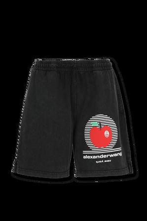 Big Apple Logo Shorts in Black ALEXANDER WANG