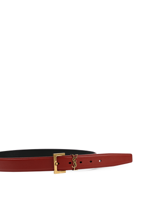 Monogram Belt in Red Leather and Gold SAINT LAURENT