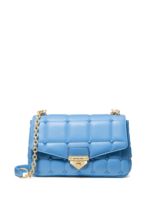 Soho LG Studded Quilted Leather Shoulder Bag in Soft Blue MICHAEL KORS