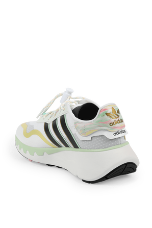Choigo Sneakers in White and Green ADIDAS ORIGINALS