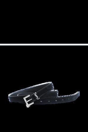 Monogram Belt in Black Suede Leather SAINT LAURENT