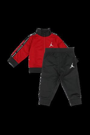 גילאי 12-24 חודשים סט מכנסיים וחולצה ממותגים בגווני אדום ושחור JORDAN