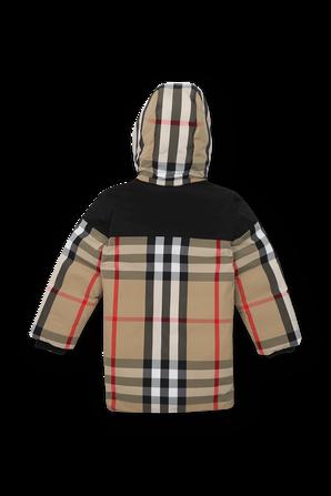 גילאי 4-14 מעיל משבצות עם כובע קפוצון BURBERRY