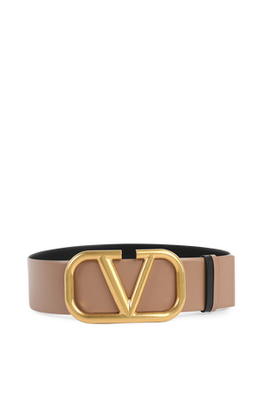 Reversible V Logo Signature Belt in Glossy Brown Leather VALENTINO