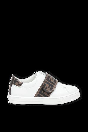 מידות 19-26 סניקרס בלבן עם רצועת לוגו FENDI KIDS