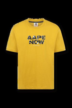 חולצה קצרה עם הדפס ממותג אייפ נאו בגוון צהוב AAPE