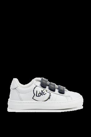 מידות 26-34 נעלי סניקרס לבנות עם סגירת וולקרו MONCLER KIDS