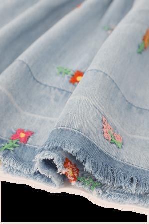 גילאי 2-14.5 חצאית ג'ינס עם רקמות פרחוניות STELLA McCARTNEY KIDS