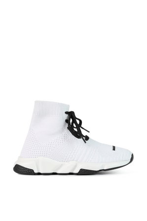 גילאי 23-32 נעלי גרב בלבן עם שרוכים שחורים BALENCIAGA KIDS