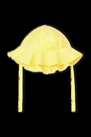 גילאי 6-18 חודשים כובע קשירה בדוגמת פסים בגווני צהוב ולבן PETIT BATEAU