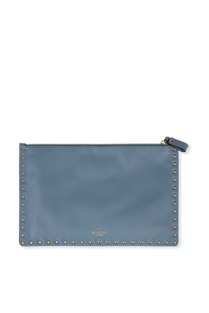 Rockstud Pouch in Blue Leather VALENTINO