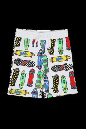 גילאי 3-14 מכנסיים קצרים לבנים הדפס סקייטבורד STELLA McCARTNEY KIDS