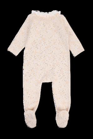 גילאי 1-18 חודישם אוברול שינה פרחוני בורוד עם צווארון מלמלה CHLOE KIDS