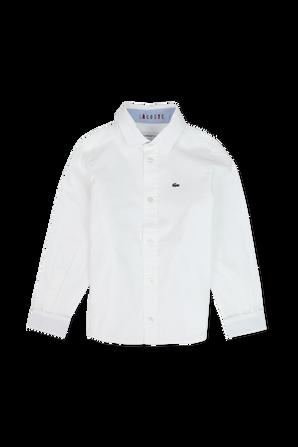 גילאי 4-14 חולצת כפתורים לבנה LACOSTE