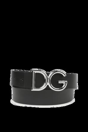 DG Logo Belt in Black Leather DOLCE & GABBANA