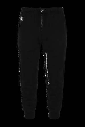מכנסי טרנינג ארוכים עם כיתוב צידי ממותג בגוון שחור AAPE