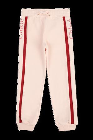 גילאי 6-12 מכנסי ארוכים בורוד עם לוגו CHLOE KIDS