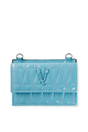 Virtus Quilted Nappa Leather Card Case in Blue VERSACE