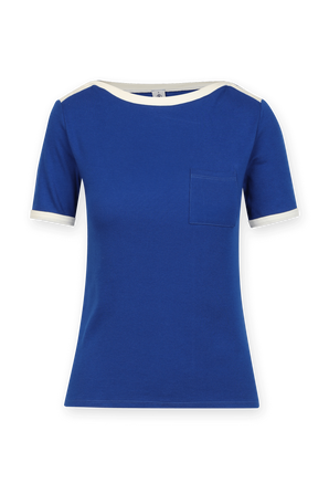Contrasting Collar T-Shirt in Blue and White PETIT BATEAU