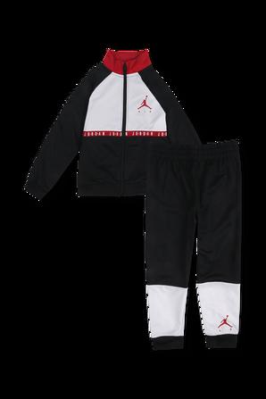 גילאי 2-4 סט מכנסיים וסווטשירט מרוכסן עם לוגו בצבעי שחור ולבן JORDAN