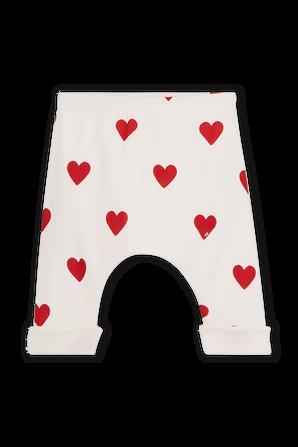 גילאי NB-18 חודשים מכנסיים לבנים עם דפוס לבבות אדומים PETIT BATEAU