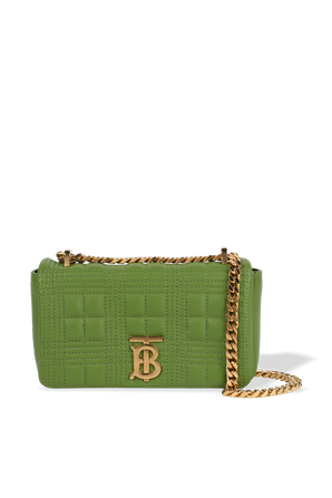 Small Quilted Leather Lola Bag in Green BURBERRY