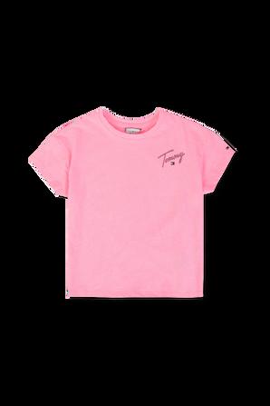 גילאי 17 חודשים - 7 שנים חולצת טי ורודה עם לוגו חתימת המעצב TOMMY HILFIGER KIDS