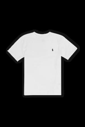 גילאי 8-18 חולצת טי בלבן עם לוגו רקום POLO RALPH LAUREN KIDS