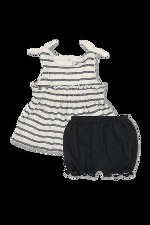 גילאי 6-12 חודשים שמלה קצרה ומכנסונים בפסים PETIT BATEAU