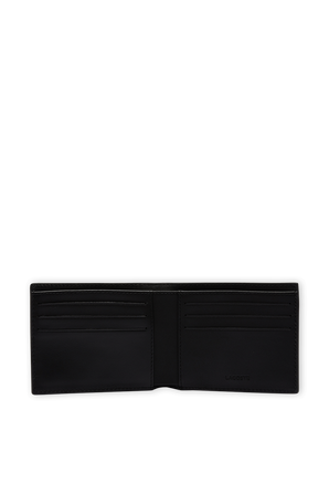Leather Wallet with Six Card in Black LACOSTE