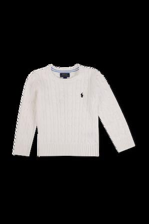 גילאי 5-7 סוודר לבן בסריגת צמה POLO RALPH LAUREN KIDS