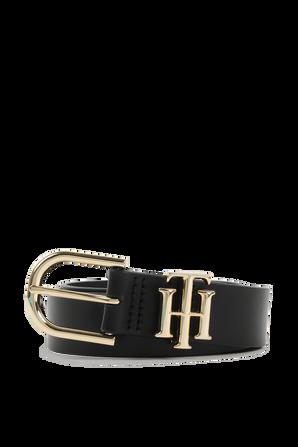 Monogram Leather Belt in Black TOMMY HILFIGER