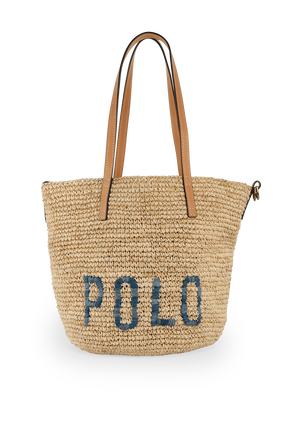 Polo Raffia Medium Tote Bag POLO RALPH LAUREN
