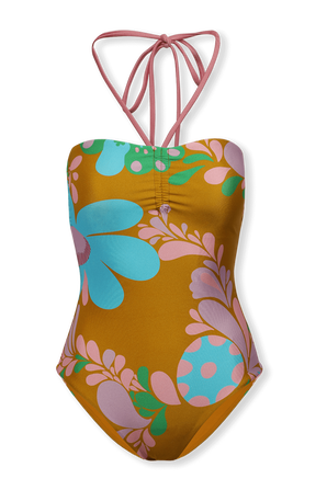 Tedy Ruched Halter Swimsuit in Mustard Floral ZIMMERMANN