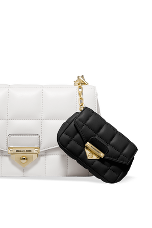 Soho Quilted Leather Bag Charm in Black MICHAEL KORS